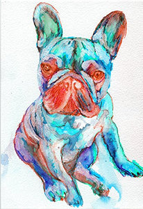 French Bulldog Art Print, Cute Frenchie Puppy, Blue Turquoise Red, French Bulldog Owner Gift, French Bull Home Decor, Signed by Oscar Jetson - Dog portraits by Oscar Jetson