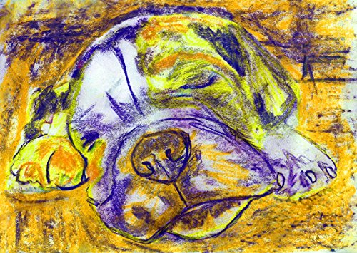 English Bulldog Art, Bulldog Pastel Painting Print, English Bulldog Owner Gift, Colorful English Bulldog Dog Breed Painting Art Print, Modern Bulldog Abstract Purple Yellow Bulldog mom decor - Dog portraits by Oscar Jetson
