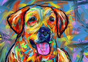 Colorful Labrador Wall Art Print, Hand Signed Yellow Lab Owner Gift, Expressionist Painting Print, Gift For Labrador Mom, Dog Art Vivid Modern Labrador Dog Painting - Dog portraits by Oscar Jetson