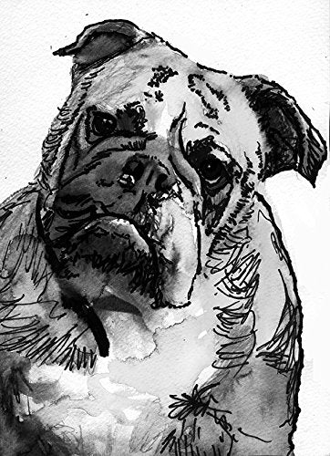 English Bulldog Artwork, Bulldog Owner Painting Print, Black and White, Grey English Bulldog owner Gift,, Print Signed by Oscar Jetson - Dog portraits by Oscar Jetson