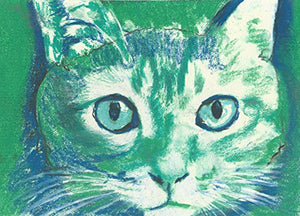 Cute Green White Cat Painting Wall Art Print, Cat Art Decor, Cat Owner Gift, Kitten Wall Art Print, Colorful Cat Wall Art Decor - Dog portraits by Oscar Jetson