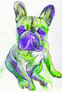 French Bulldog Art, Cute Frenchie Puppy Print, Green Purple Frenchie Mom, French Bulldog Lover Gift, French Bull Mom Home Decor, Signed by Oscar Jetson - Dog portraits by Oscar Jetson