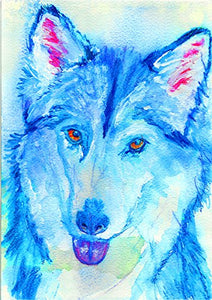 Husky Gift, Colorful Siberian Husky Art, Husky Picture, Husky Dad Gift For Husky Mom, Blue Dog Wall Art Print - Dog portraits by Oscar Jetson