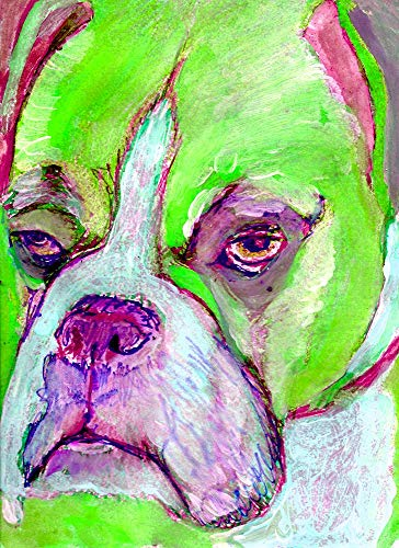 Abstract Boxer Dog Painting Wall Art Print, Lime Green Boxer Dog Owner Gift Idea, Boxer Mom Gift, Choice of Size Hand Signed Boxer Dog Wall Hanging Art by Artist Oscar Jetson. - Dog portraits by Oscar Jetson