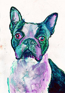 Blue Aquamarine Boston Terrier Wall Art Print, Colorful Boston Terrier Nursery Art, Boston Terrier Owner Gift, Dog Art Print, Abstract Boston Terrier Watercolor Art - Dog portraits by Oscar Jetson