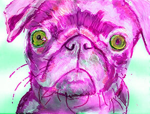 Purple Pug Art Print, Colorful Pug Painting Print, Pug Mom Gift, Pug Dog Art, Dog Wall Art Decor, Purple Pug Decor - Dog portraits by Oscar Jetson