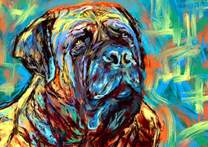 Bull Mastiff Art Print, BullMastiff Gifts, Mastiff dogs, Dog painting Wall Art, Colorful Modern Bull mastiff decor hand signed by Oscar Jetson - Dog portraits by Oscar Jetson