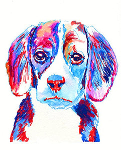 Abstract Beagle Wall Art Print, Colorful Red White Blue, Patriot Beagle Painting, Beagle Owner Gift, Beagle Dog Decor, Dog Wall Art Print, Colorful Beagle Dog Mom Decor by Oscar Jetson - Dog portraits by Oscar Jetson