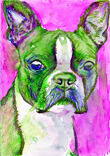 Pink Boston Terrier Wall Art Decor, Colorful Boston Terrier Nursery Art, Boston Terrier Owner Gift, Dog Art Print, Colorful Dog Wall Art - Dog portraits by Oscar Jetson