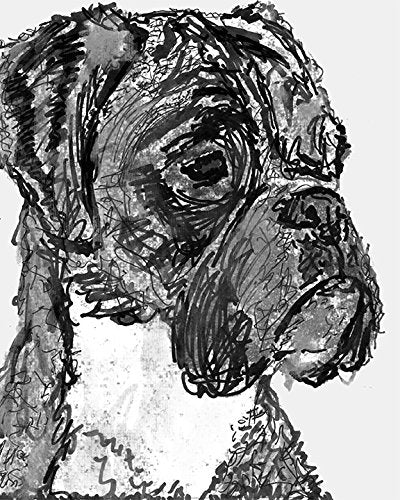 Modern Boxer Dog Art, Minimalist Chic Boxer Dog Gift Idea, Boxer Dog Wall Art, Black and White Boxer Dog Print, Boxer Dog Wall Decor Hand Signed by Oscar Jetson - Dog portraits by Oscar Jetson