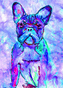 French Bulldog Wall Art, Blue Turquoise, Aquamarine Frenchie, French Bulldog, Gift for Frenchie Owner, French Bulldog Artwork, French Bulldog Pop Art Print, Wall Hanging French Bulldog Mom Decor - Dog portraits by Oscar Jetson