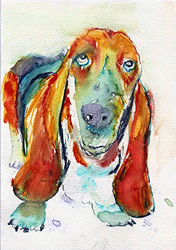 Basset Hound Watercolor Art Print, Abstract Expressive Basset Hound Owner Wall Art Print, Basset Hound Artwork, Basset Mom Gift, Basset Hound Dog Lover, Dog Wall Art Print - Dog portraits by Oscar Jetson