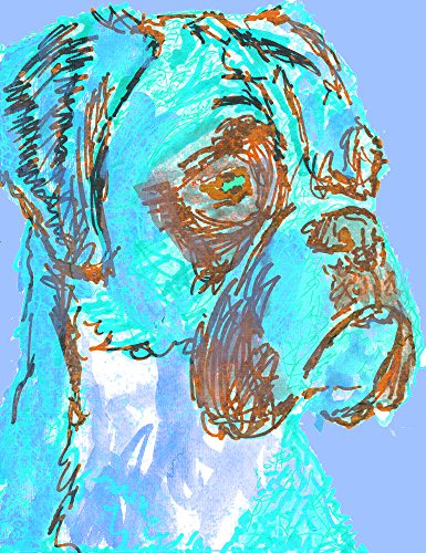 Colorful Boxer Dog Wall Art, Gift For Boxer Dog Owner, Boxer Mom Art, Dog Abstract Blue Boxer Dog Painting, Blue Boxer Dog Wall Decor - Dog portraits by Oscar Jetson