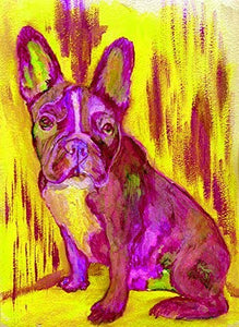 French Bulldog Wall Art, Pink Yellow Frenchie Puppy Print, Bulldog Mom, Home Decor Choice of Size Hand Signed by Pet Portrait Artist Oscar Jetson - Dog portraits by Oscar Jetson