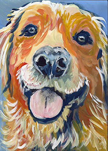 Smiling Golden Retriever Wall Art, Golden Retriever Owner Gift Idea, Golden Retriever Mom, Golden Retriever Art Decor, Abstract Golden Retriever Wall Art Print, Dog Art Print - Dog portraits by Oscar Jetson