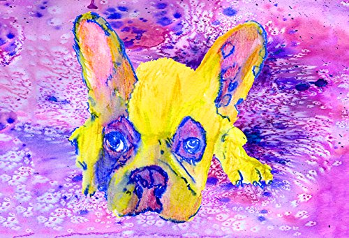 French Bulldog Art, Pink Watercolor Frenchie Owner Gift, French Bulldog Decor, Dog Wall Art Print, Colorful French Bull Dog Owner Gift - Dog portraits by Oscar Jetson