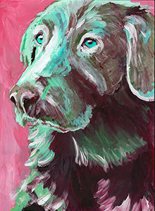 Labrador Pink Green Art Print, Labrador Art Gift, Labrador Retriever Art, Gift For Labrador Owner, Dog Painting, Labrador Wall Art - Dog portraits by Oscar Jetson