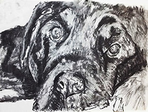 Labrador, Labrador Gift Charcoal Wall Art, Black Lab Picture, Labrador Dog Owner Gift, Lab Dog Art, Dog Wall Art Print, Black Labrador Dog Drawing by Oscar Jetson - Dog portraits by Oscar Jetson