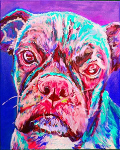 Colorful Boxer Dog Wall Art Print, Dog Owner Gift, Wall Hanging Artwork, Boxer Dog Memorial Choice of Size Hand Signed Gift For Her by Artist Oscar Jetson. - Dog portraits by Oscar Jetson