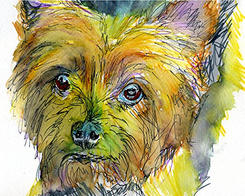 Yorkshire Terrier Biewer Art, Colorful Yorkshire Biewer Terrier Print, Yorkie Owner Gift, Yorkshire Terrier Painting, Colorful Dog Home Decor Hand Signed by Oscar Jetson - Dog portraits by Oscar Jetson