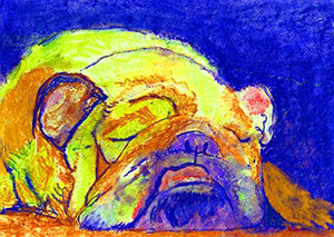 Colorful English Bulldog Blue and Yellow Bull Dog Wall Art, Bulldog Mom Gift , Bulldog Owner Gift, English Bulldog Modern Art Print - Dog portraits by Oscar Jetson