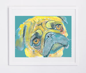 Pug painting wall art print yellow and aquamarine pug print - Dog portraits by Oscar Jetson