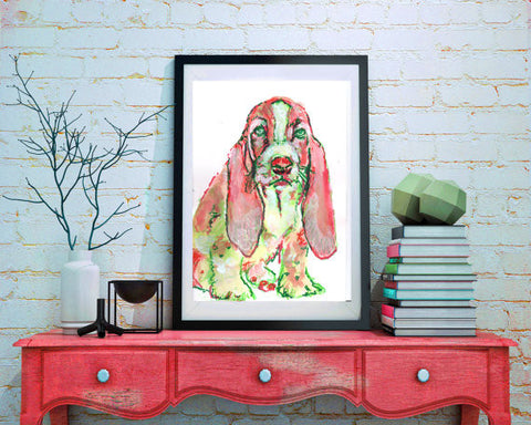 Basset Hound Painting Art print Red Green - Dog portraits by Oscar Jetson