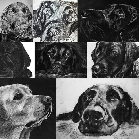 Custom Charcoal Drawing from a Photograph - Dog portraits by Oscar Jetson