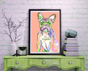 French bulldog signed Peach painting wall art print - Dog portraits by Oscar Jetson