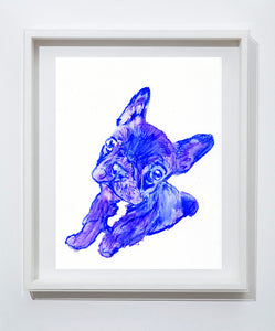 French bulldog puppy watercolor signed painting wall art print Blue - Dog portraits by Oscar Jetson