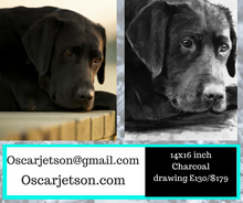 Load image into Gallery viewer, Deposit for a Custom Charcoal Drawing from your photo 11.69x16.53 inch, 260gsm paper, Willow Charcoal - Dog portraits by Oscar Jetson