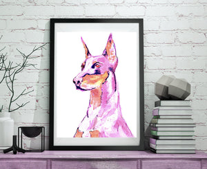 Doberman dog painting wall art print Pink Doberman dog print - Dog portraits by Oscar Jetson