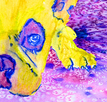 Load image into Gallery viewer, French bulldog watercolor print Pink and yellow - Dog portraits by Oscar Jetson