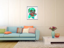 Load image into Gallery viewer, Boxer Dog with toy painting wall art print in Aquamarine boxer dog art print - Dog portraits by Oscar Jetson