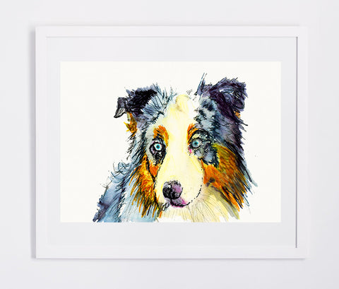 Australian shepherd dog Painting watercolor art print - Dog portraits by Oscar Jetson