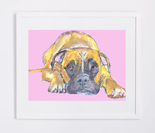 Load image into Gallery viewer, Boxer Dog painting baby pink and yellow ochre wall art print in Yellow Pink boxer dog art print - Dog portraits by Oscar Jetson