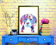 Load image into Gallery viewer, Beagle dog watercolor Painting Art print Red aqua marine beagle print - Dog portraits by Oscar Jetson