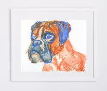 Load image into Gallery viewer, Boxer Dog painting art print Blue Orange boxer dog wall art hand signed boxer dog art print - Dog portraits by Oscar Jetson
