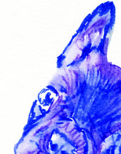 Load image into Gallery viewer, French bulldog puppy watercolor signed painting wall art print Blue - Dog portraits by Oscar Jetson