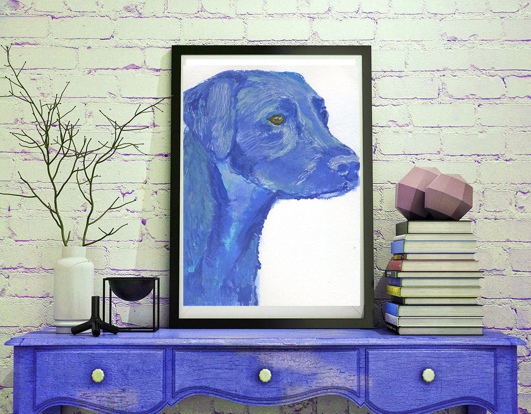 Labrador retriever dog Painting Blue watercolor art print - Dog portraits by Oscar Jetson