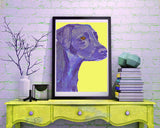 Labrador art print Blue and Yellow lab dog gift labrador dog art print - Dog portraits by Oscar Jetson
