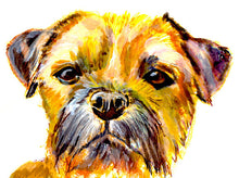Load image into Gallery viewer, Border terrier dog Painting watercolor and acrylic art print - Dog portraits by Oscar Jetson