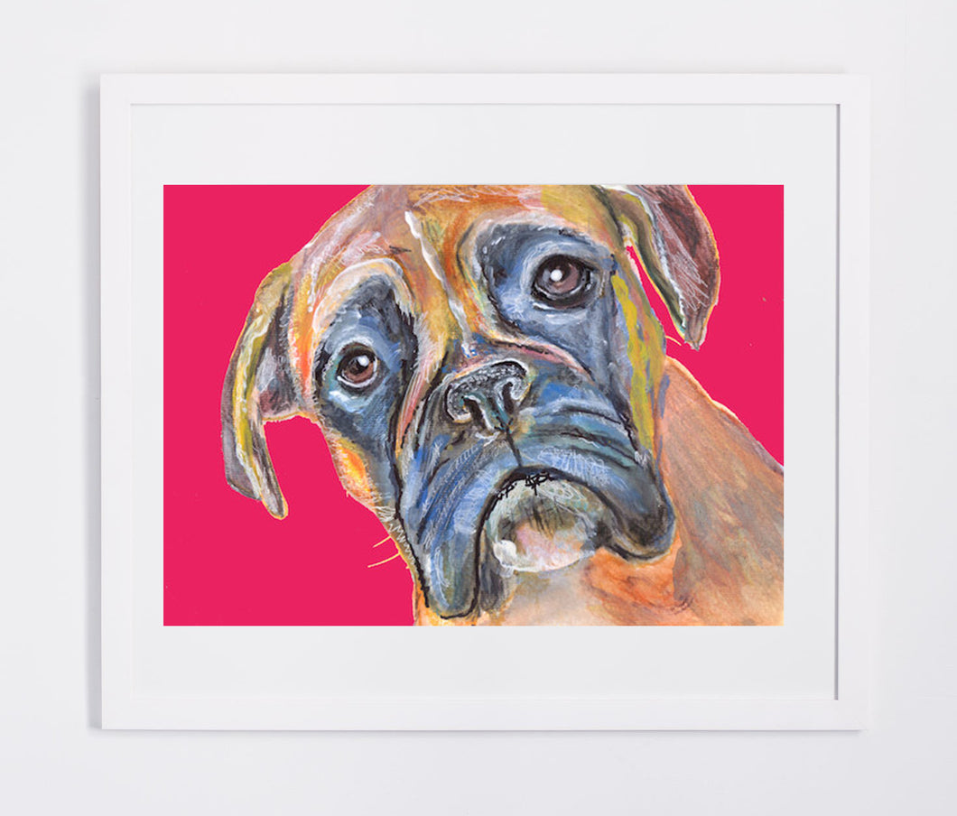 Red Boxer Dog painting Blue and brindle wall art print hand signed boxer dog art print - Dog portraits by Oscar Jetson