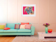 Load image into Gallery viewer, Red Boxer Dog painting Blue and brindle wall art print hand signed boxer dog art print - Dog portraits by Oscar Jetson