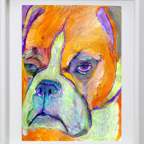 Orange Boxer Dog painting abstract wall art print in Orange Purple and lime green boxer dog print - Dog portraits by Oscar Jetson