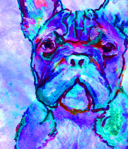 French bulldog art print Purple Blue signed watercolor painting french bull art print - Dog portraits by Oscar Jetson