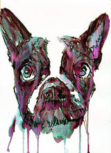 Load image into Gallery viewer, French bulldog art print Pink Blue Black runny french bulldog watercolor - Dog portraits by Oscar Jetson