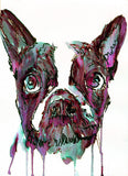 French bulldog art print Pink Blue Black runny french bulldog watercolor - Dog portraits by Oscar Jetson