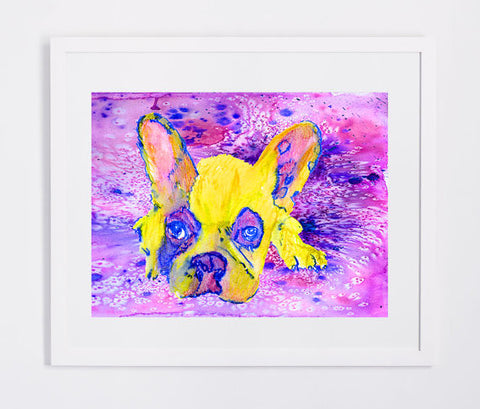 French bulldog watercolor print Pink and yellow - Dog portraits by Oscar Jetson