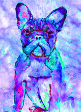 Load image into Gallery viewer, French bulldog art print Purple Blue signed watercolor painting french bull art print - Dog portraits by Oscar Jetson